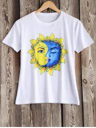 Artistic Sun and Moon Pattern Tee -