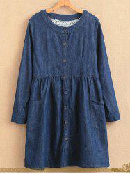 Plus Size Single Breasted Long Sleeve Round Neck Denim Dress -