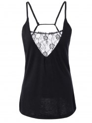 Plunge Neck Lace Insert Open Back Tank Top