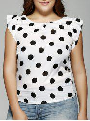Plus Size Polka Dot Ruffle Sleeve T-Shirt -