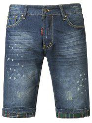 Chic Polka Dot Print Mid-Wash Jeans Shorts For Men -