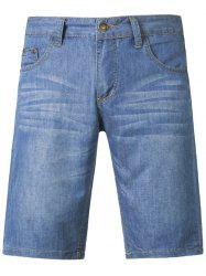 Simple Style Light Wash Jeans Shorts For Men -
