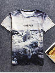 3D Polar Bear Printed Round Neck Short Sleeve T-Shirt For Men
