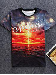 3D Sunset Printed Crew Neck T Shirt - RED