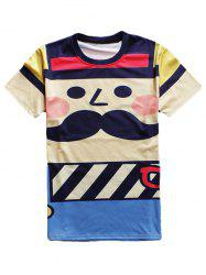 Cartoon Print Round Neck Short Sleeve T-Shirt For Men