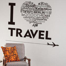 Waterproof Creative Words Letters I Love Travel Wall Stickers