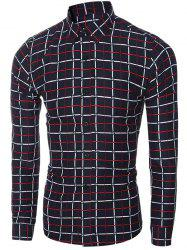 Slim Fit Turn-Down Collar Long Sleeve Checked Shirt For Men -