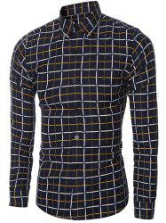 Slim Fit Turn-Down Collar Long Sleeve Checked Shirt For Men
