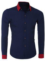 Fashion Hit Color Turn-Down Collar Long Sleeve Shirt For Men - CADETBLUE