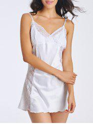 Charming Cami Lace Splicing Backless Women's Babydoll - WHITE