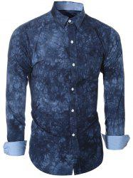 Ethnic Tie-Dyed Turn-Down Collar Long Sleeve Shirt For Men - DEEP BLUE 2XL