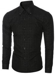 Trendy Dark Plaid Turn-Down Collar Long Sleeve Shirt For Men - BLACK