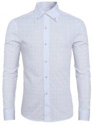 Trendy Dark Plaid Turn-Down Collar Long Sleeve Shirt For Men - WHITE