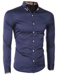 Printed Hem Spliced Turn-Down Collar Long Sleeve Shirt For Men - CADETBLUE