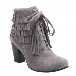 Trendy Tie Up and Tassels Design Ankle Boots For Women - GRAY