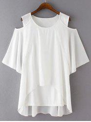 Plus Size Chic Cold Shoulder Chiffon Blouse - WHITE