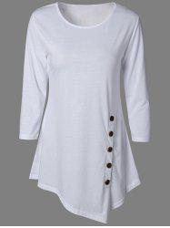 Pure Color Button Asymmetric Blouse - WHITE
