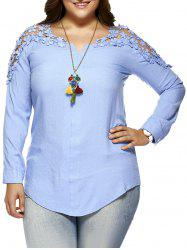 Plus Size Lace Hollow Out  Blouse