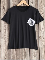 Pocket Design Letter Pattern Tee