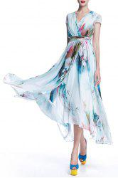 Surplice Long Printed Flowy Dress