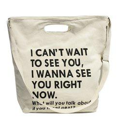 Casual Letter Print and Canvas Design Crossbody Bag For Women -