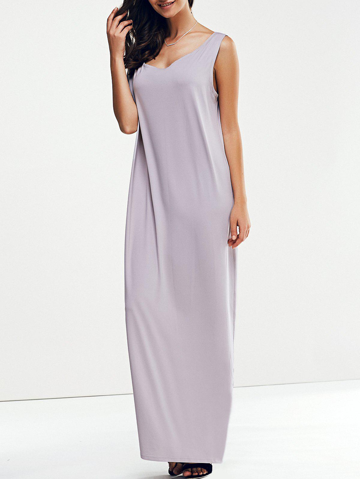 Sale Casual Skew Collar 3/4 Sleeve Straight Solid Color Maxi Dress