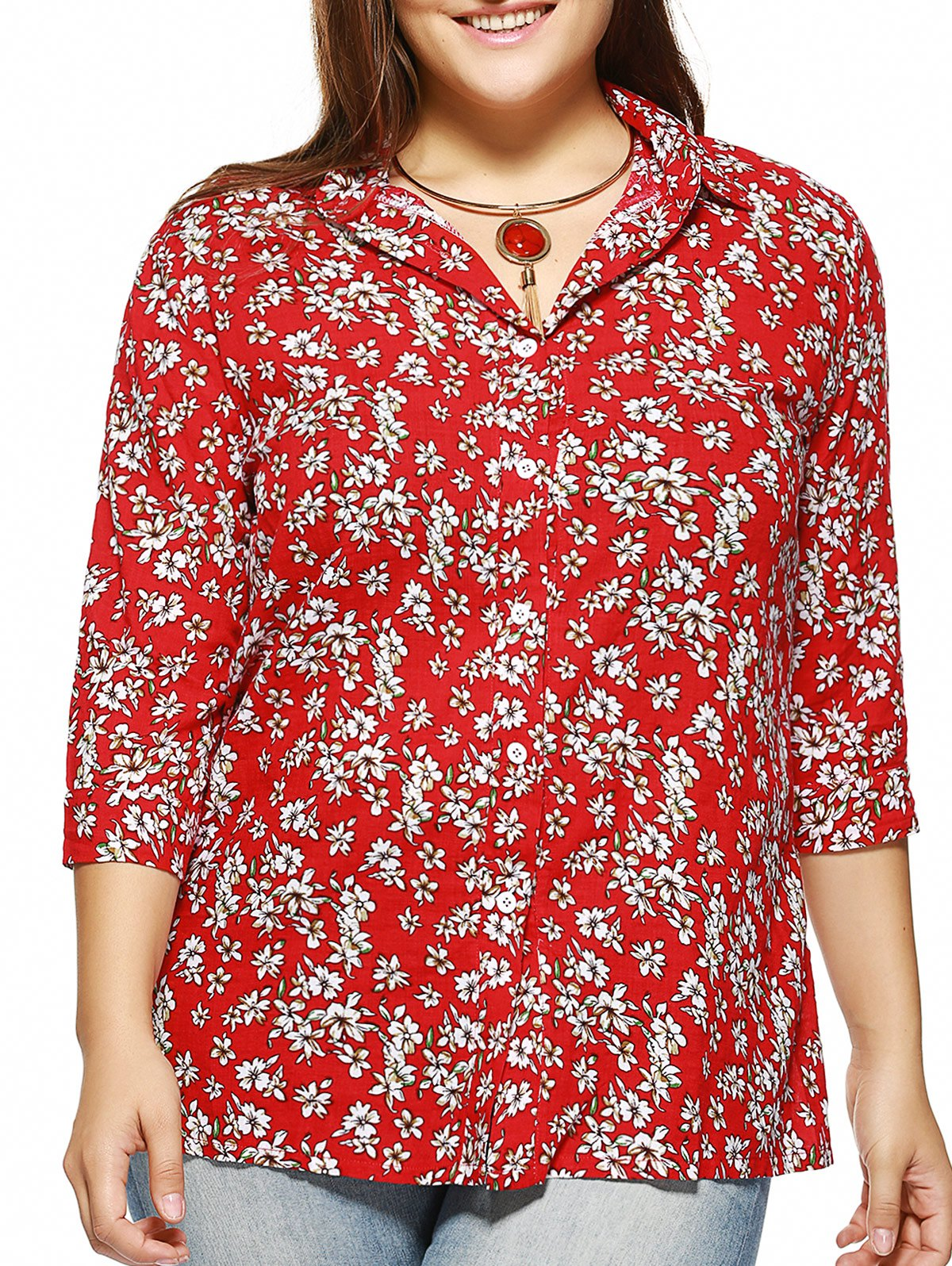 Affordable Plus Size Tiny Floral Print Shirt