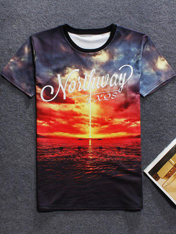 New 3D Sunset Printed Crew Neck T Shirt