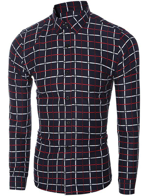 Fashion Slim Fit Turn-Down Collar Long Sleeve Checked Shirt For Men