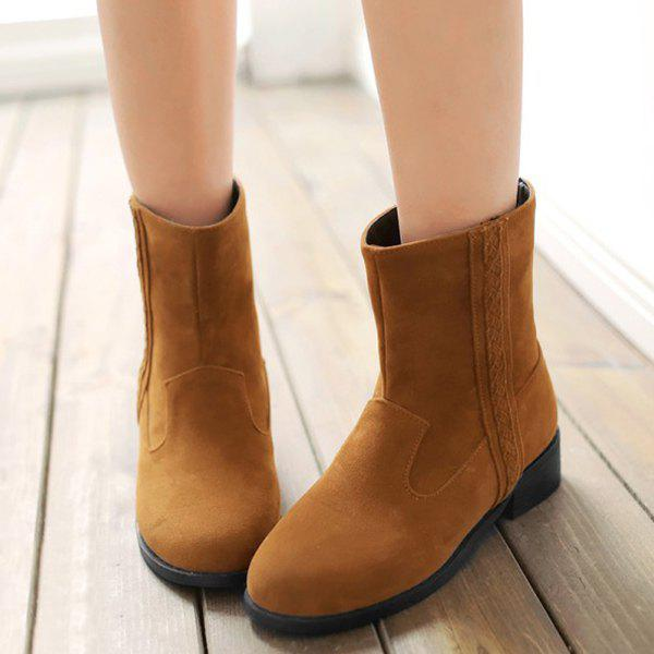 New Casual Solid Colour and Zipper Design Boots For Women