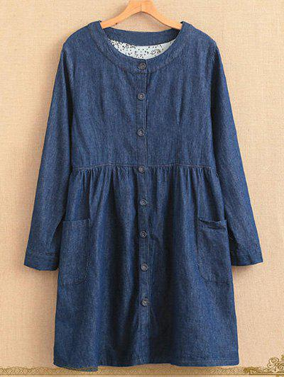 Online Plus Size Single Breasted Long Sleeve Round Neck Denim Dress