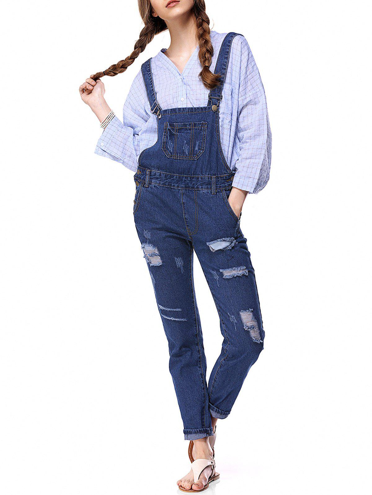 b8f749f44c7 Discount Trendy Destroyed Button Up Side Denim Overalls