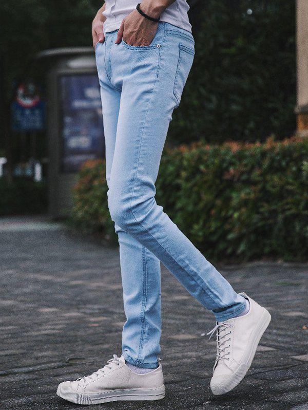 New Refreshing Light Wash Slim-Fit Pencil Jeans For Men