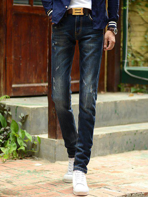 New Chic Dark Wash Slim-Fit Pencil Jeans For Men