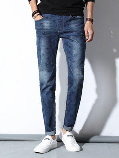 Affordable New Look Stars Design Mid-Wash Drawstring Waistband Pencil Jeans For Men