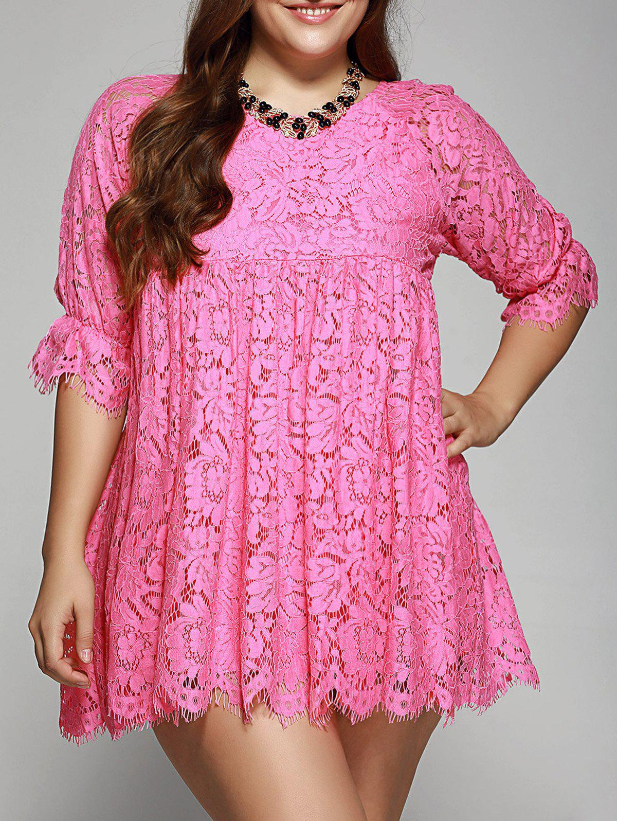 Best Oversized A-Line Scalloped Edge Lace Dress
