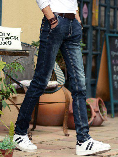Buy Chic Buttons Design Dark Wash Slim-Fit Pencil Jeans For Men