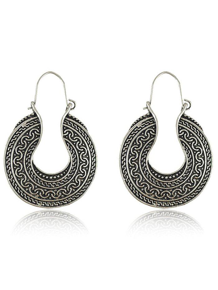 Engraved Drop EarringsJEWELRY<br><br>Color: SILVER; Earring Type: Drop Earrings; Gender: For Women; Metal Type: Alloy; Style: Trendy; Shape/Pattern: Others; Weight: 0.036kg; Package Contents: 1 x Earring (Pair);