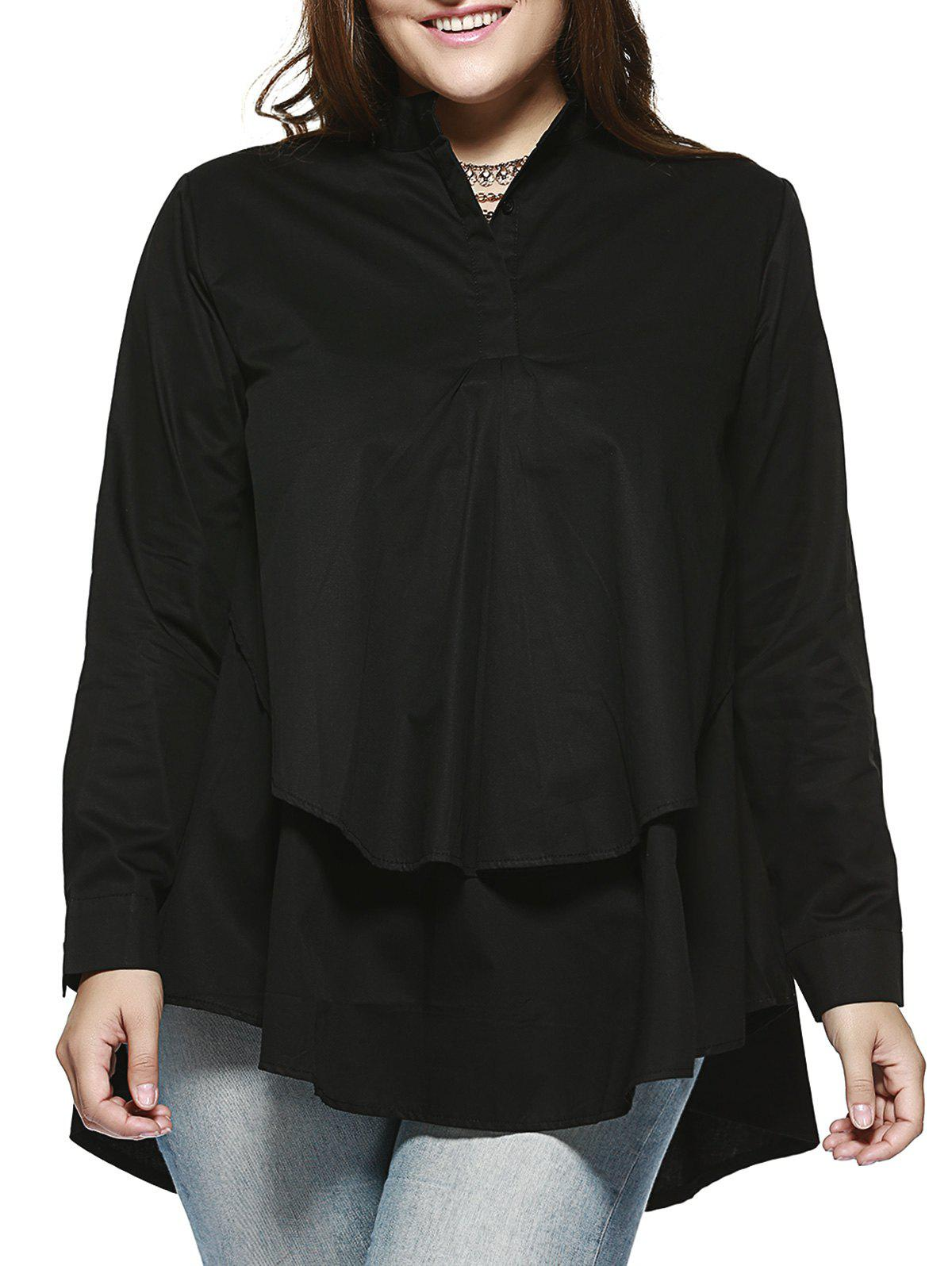 Outfits Chic Plus Size Double Layer Asymmetrical Shirt