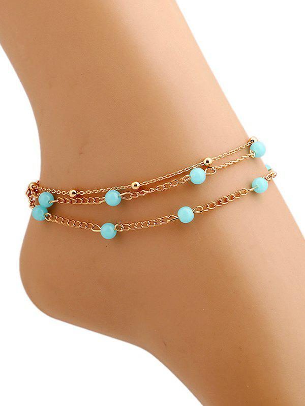 Beads Layered Leg Gemstone AnkletsJEWELRY<br><br>Color: GOLDEN; Gender: For Women; Metal Type: Alloy; Style: Trendy; Shape/Pattern: Others; Weight: 0.0250kg; Package Contents: 1 x Anklet;