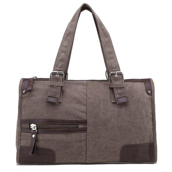 Chic Casual Canvas and Zip Design Tote Bag For Men