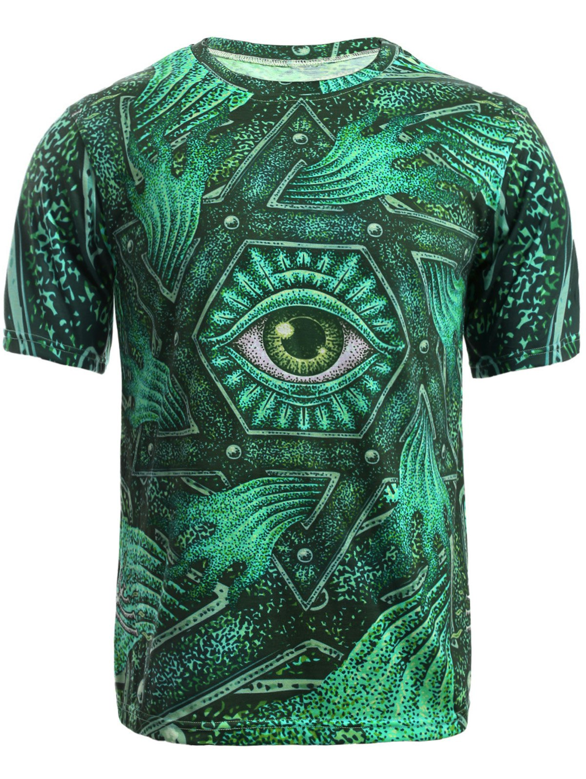 3D Geometric and Print Round Neck Short Sleeve T-Shirt For MenMEN<br><br>Size: L; Color: GREEN; Style: Fashion; Material: Cotton,Polyester; Sleeve Length: Short; Collar: Round Neck; Embellishment: 3D Print; Pattern Type: Geometric; Weight: 0.170kg; Package Contents: 1 x T-Shirt;