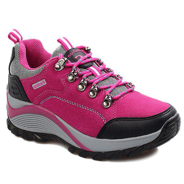 Chaussures mode Tie Up and Color Splicing design pour les femmes Rose Rouge 38