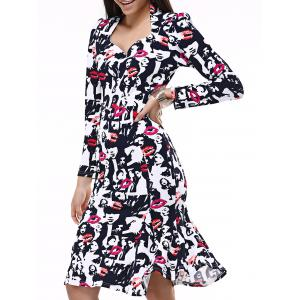 Face Print Mermaid Sweetheart Prom Dress - Black And White And Red - 2xl