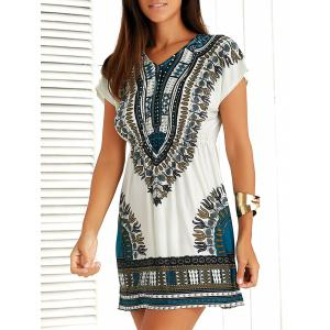 Casual Ethnic Summer Mini Dress - Blue - One Size