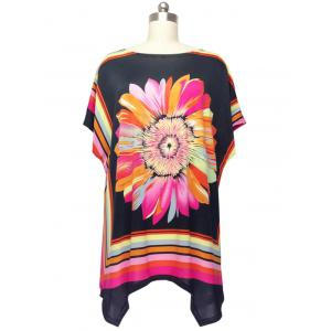 Colorized Floral Cap Sleeve Blouse For Women