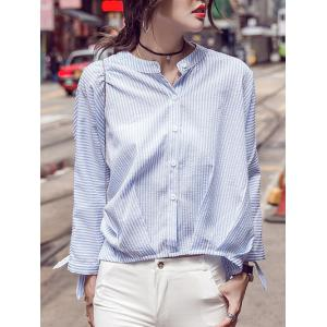 Pinstriped Bat Sleeve Loose Blouse