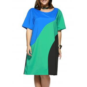 Plus Size Chic Color Block T-Shirt Shift Dress - Colormix - 2xl