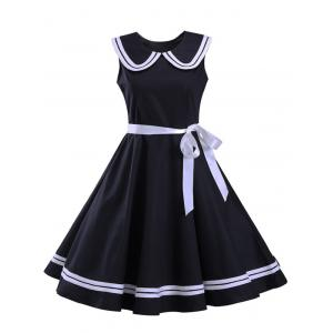 Sailor Collar Sleeveless Skater Dress - Black - 2xl