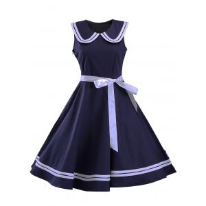 Sailor Collar Sleeveless Skater Dress